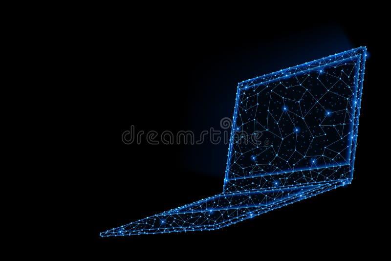 膝上型计算机摘要多角形轻的设计有发光的屏幕的 向量例证