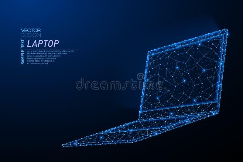 膝上型计算机摘要多角形轻的设计有发光的屏幕的 皇族释放例证