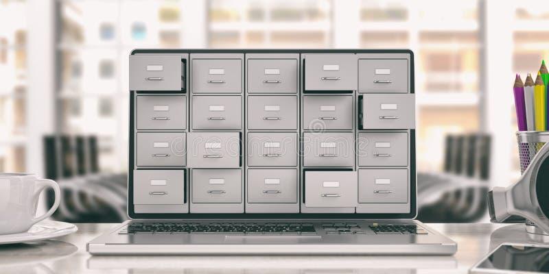 膝上型计算机数据存储 在膝上型计算机屏幕上的档案橱柜 3d例证 向量例证