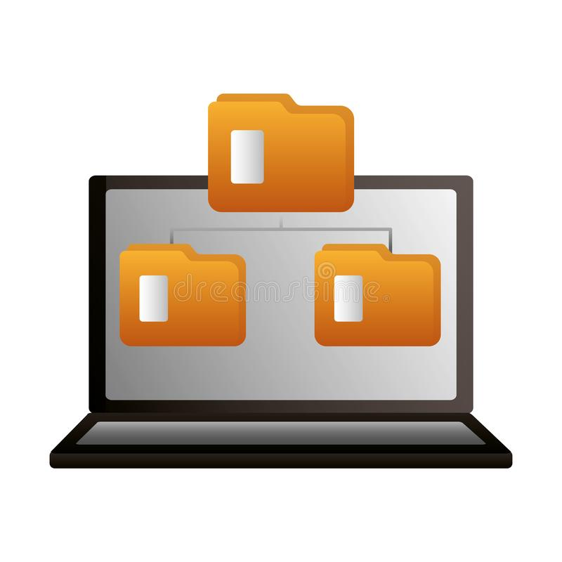 膝上型计算机数据文件夹转移的拷贝 库存例证