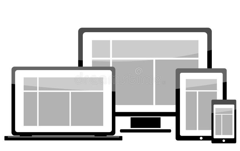 膝上型计算机显示器片剂机动性象 向量例证