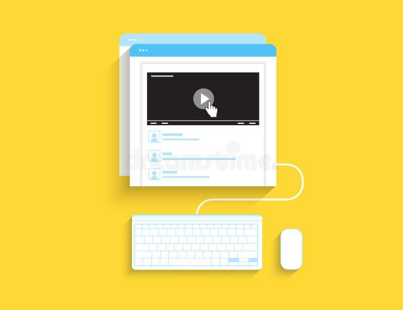 膝上型计算机服务符号指南录影 向量例证