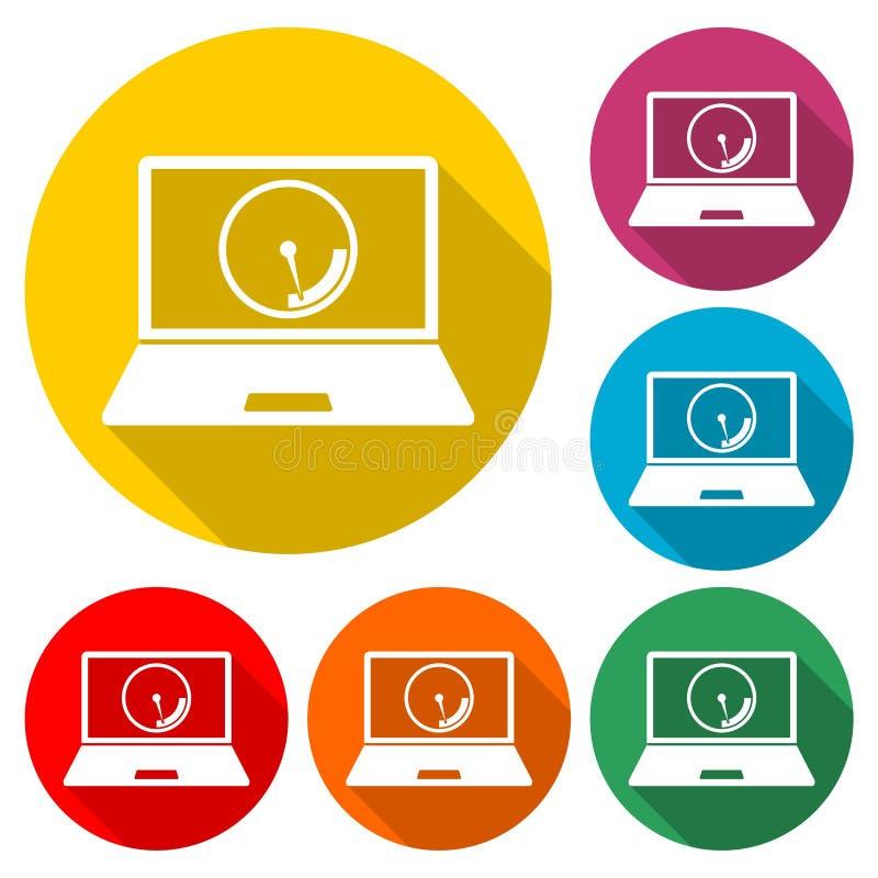 膝上型计算机正面图和网速象或商标,与长的阴影的彩色组 皇族释放例证