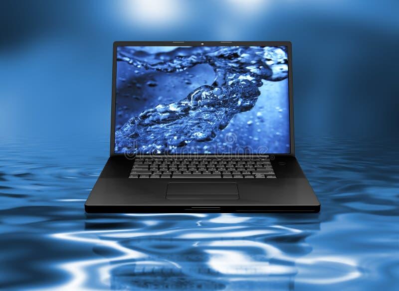 膝上型计算机水 库存例证