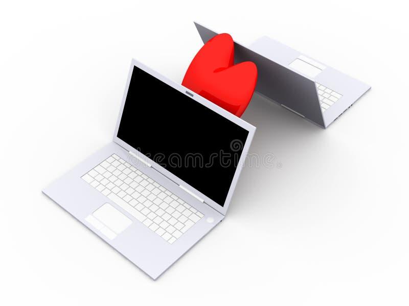 膝上型计算机爱 库存例证