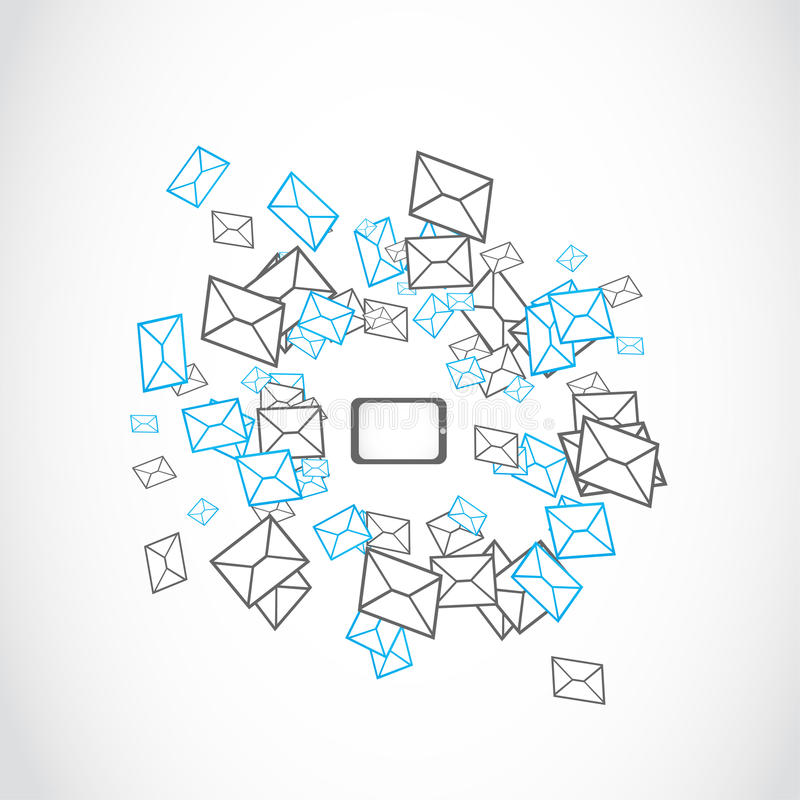 膝上型计算机片剂消息邮寄的概念 向量例证