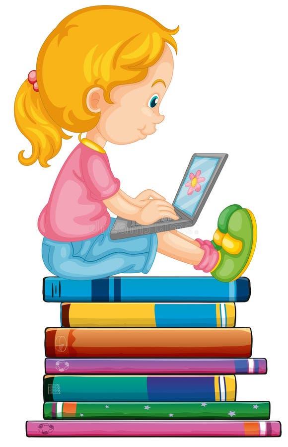 膝上型计算机的女孩 向量例证