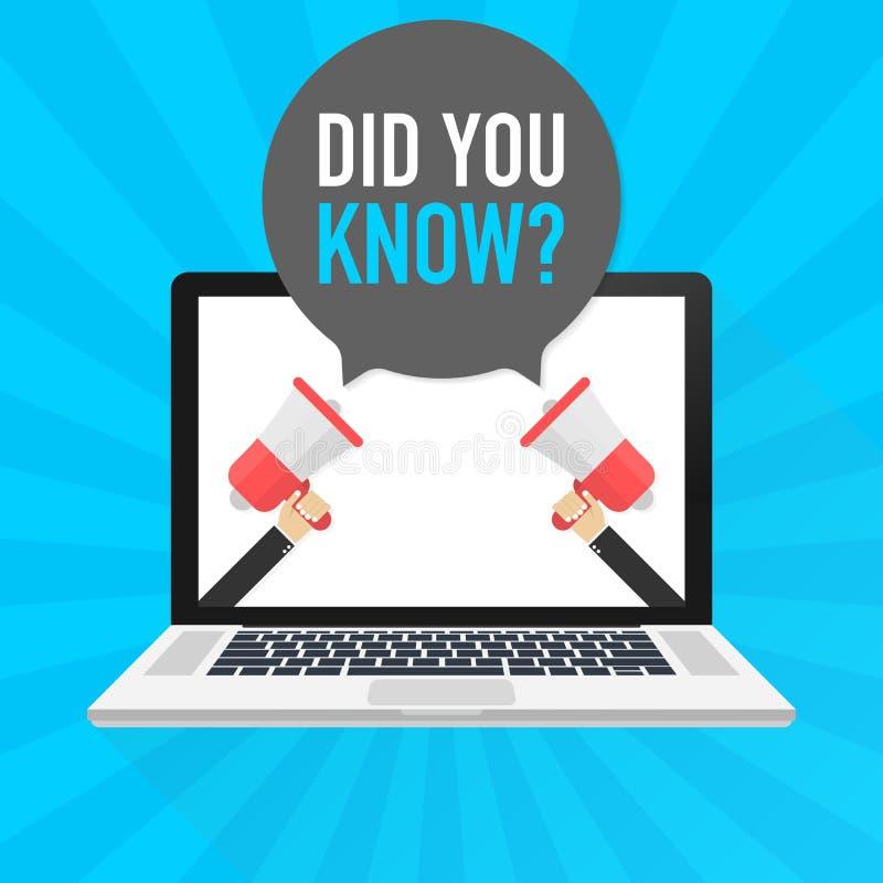 膝上型计算机笔记本计算机屏幕 拿着扩音机的手 您是否知道?在讲话泡影的文本 也corel凹道例证向量 库存例证