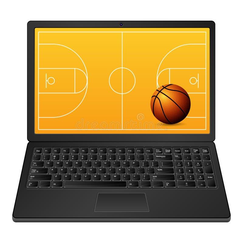 膝上型计算机篮球 皇族释放例证
