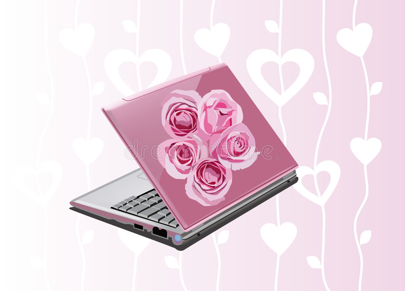 膝上型计算机粉红色 皇族释放例证
