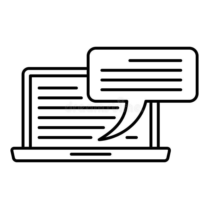 膝上型计算机聊天的象,概述样式 库存例证