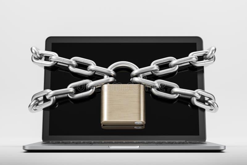 膝上型计算机被囚禁与挂锁,安全概念 向量例证