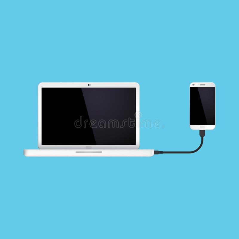 膝上型计算机被连接到手电话 10 eps例证盾向量 免版税图库摄影