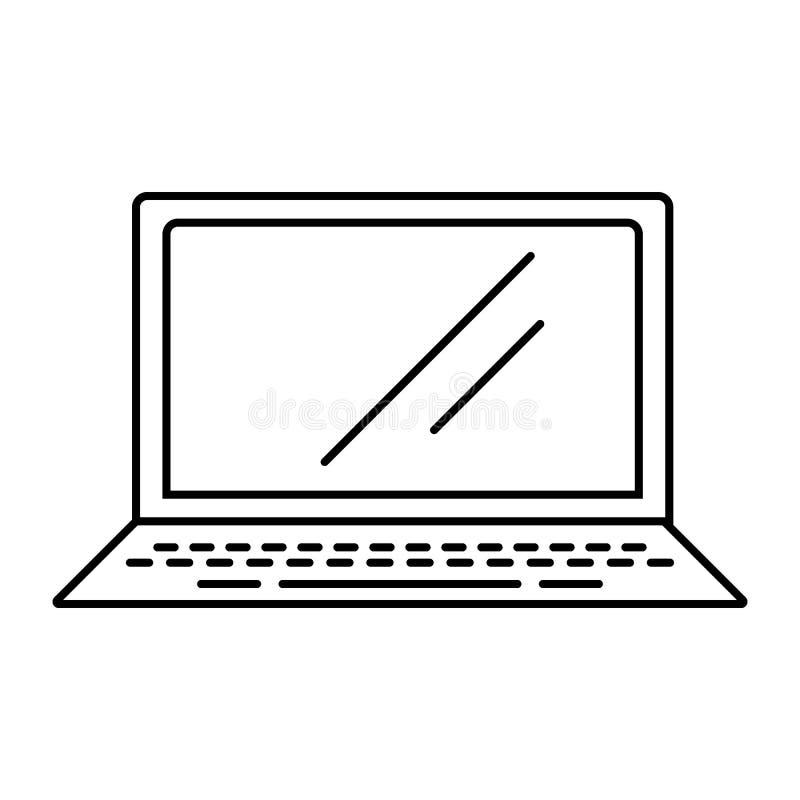 膝上型计算机象 家电的元素流动概念和网apps的 网站设计和发展的, app稀薄的线象 向量例证