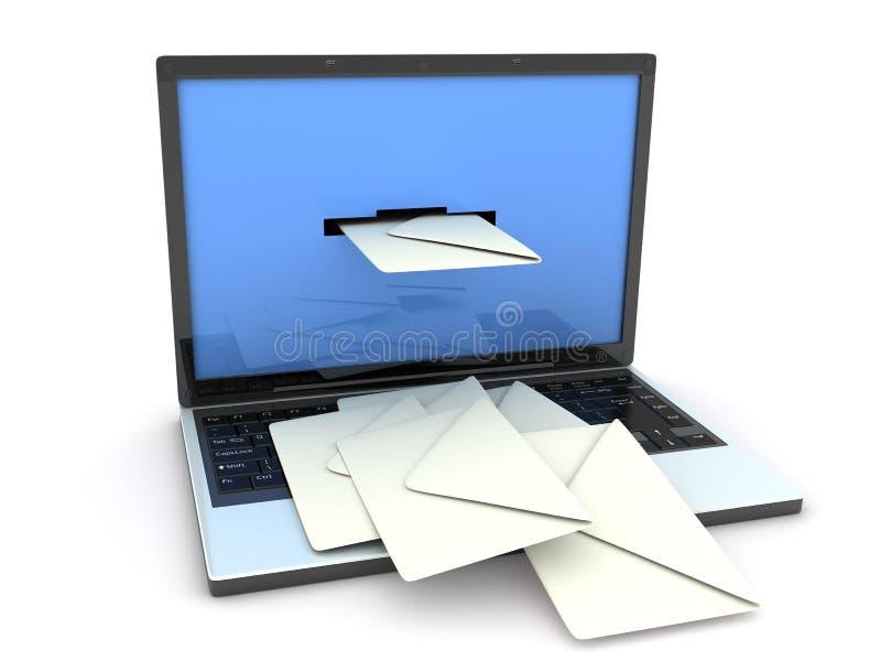 膝上型计算机邮件 库存例证