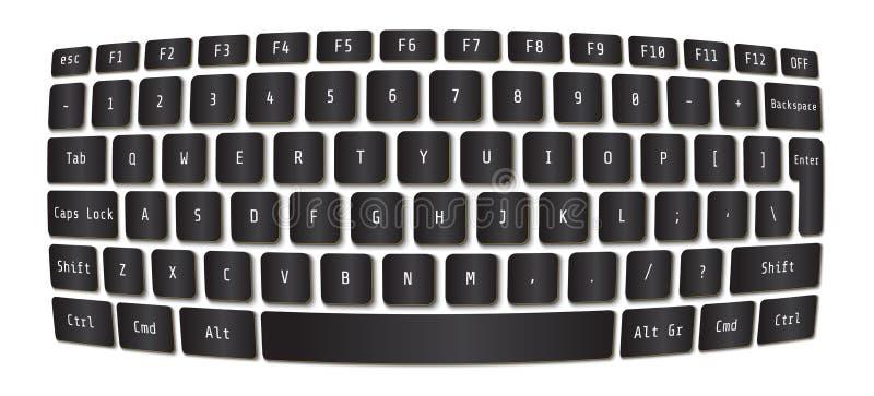膝上型计算机键盘的传染媒介例证 现代球形概念 皇族释放例证