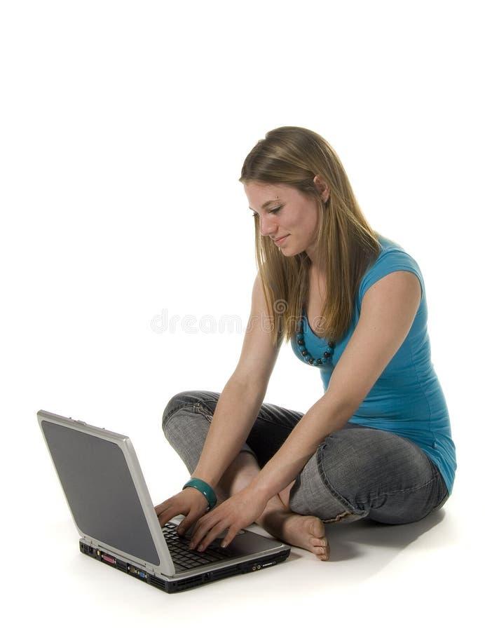 膝上型计算机青少年使用 库存图片