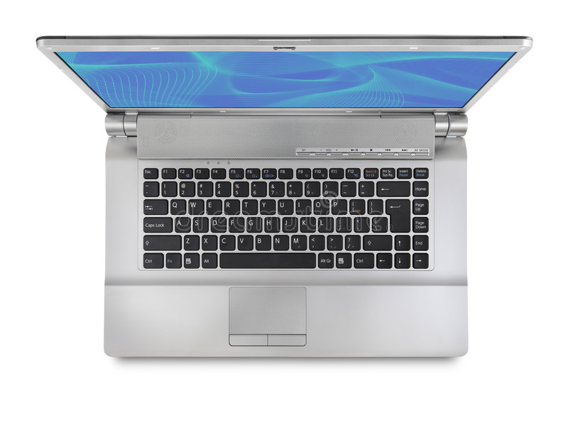 膝上型计算机顶视图 免版税库存图片