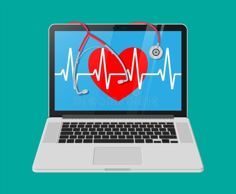 膝上型计算机,与脉冲线,听诊器的心脏形状 库存例证