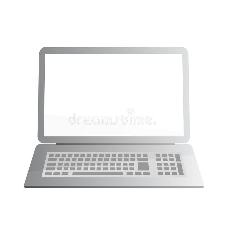 膝上型计算机,有灰色梯度的笔记本的简单的传染媒介例证 皇族释放例证