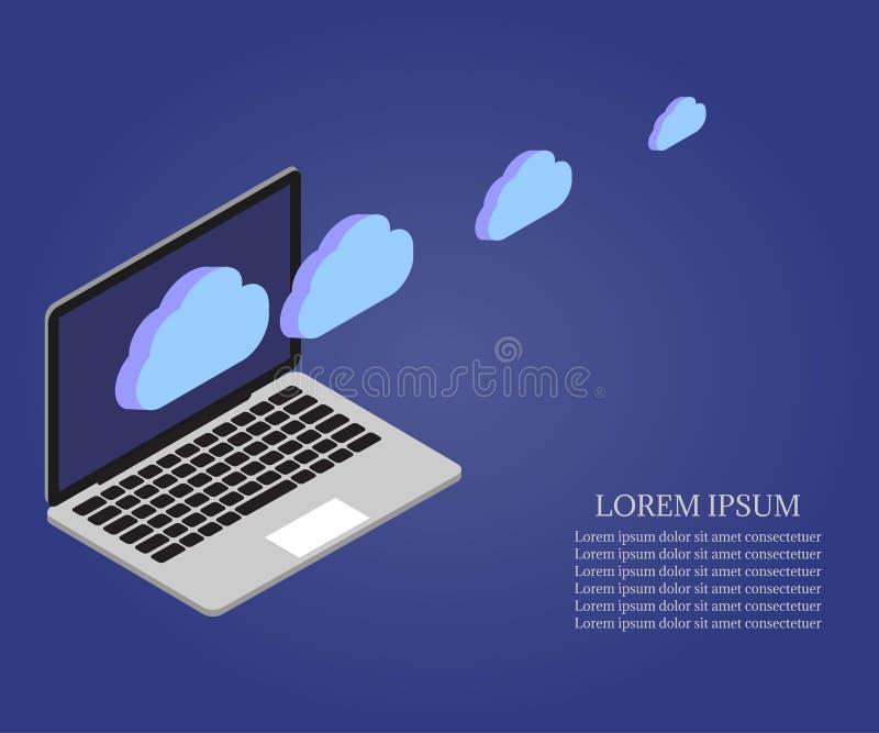 膝上型计算机,等量的3D,云彩2 皇族释放例证