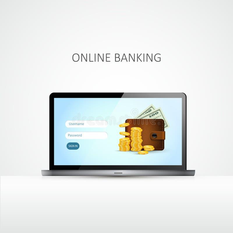 膝上型计算机 银行业务可能计算机概念费用等在线问题象征 向量 皇族释放例证