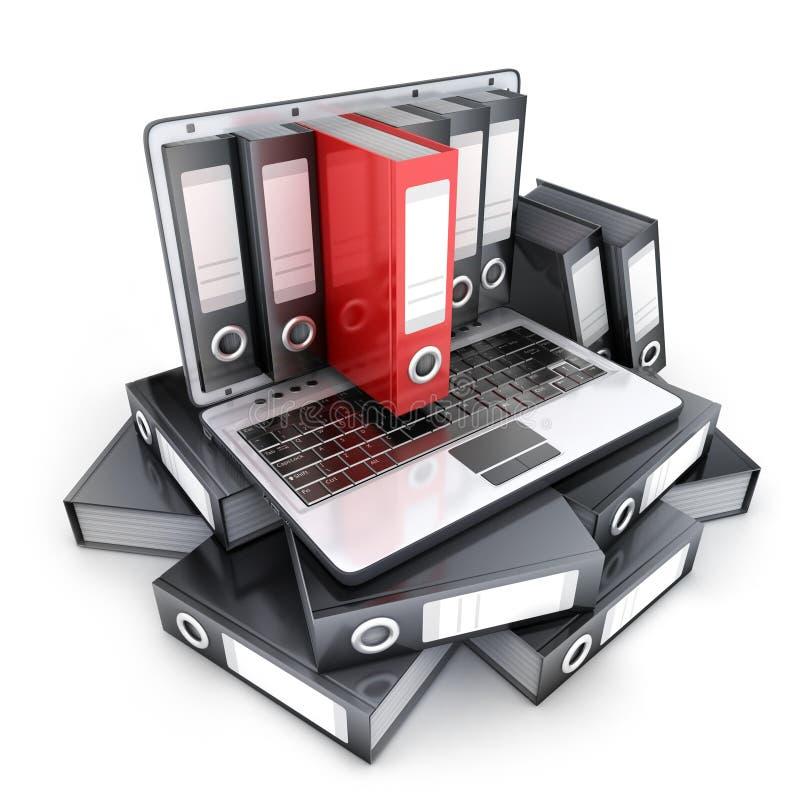 膝上型计算机3d和文件 向量例证