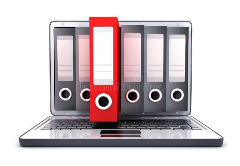 膝上型计算机3d和许多文件和一个红色文件 库存例证
