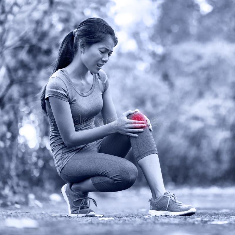 膝伤-跑在妇女的体育膝伤 免版税库存图片