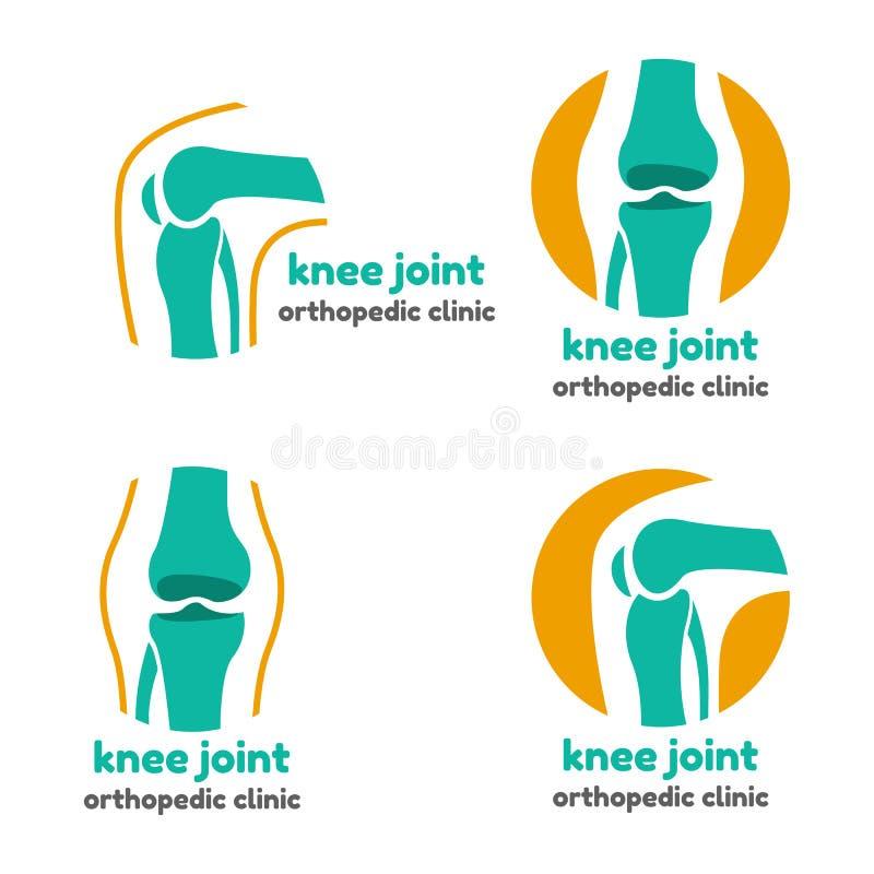 膝盖关节骨头的圆的标志 皇族释放例证
