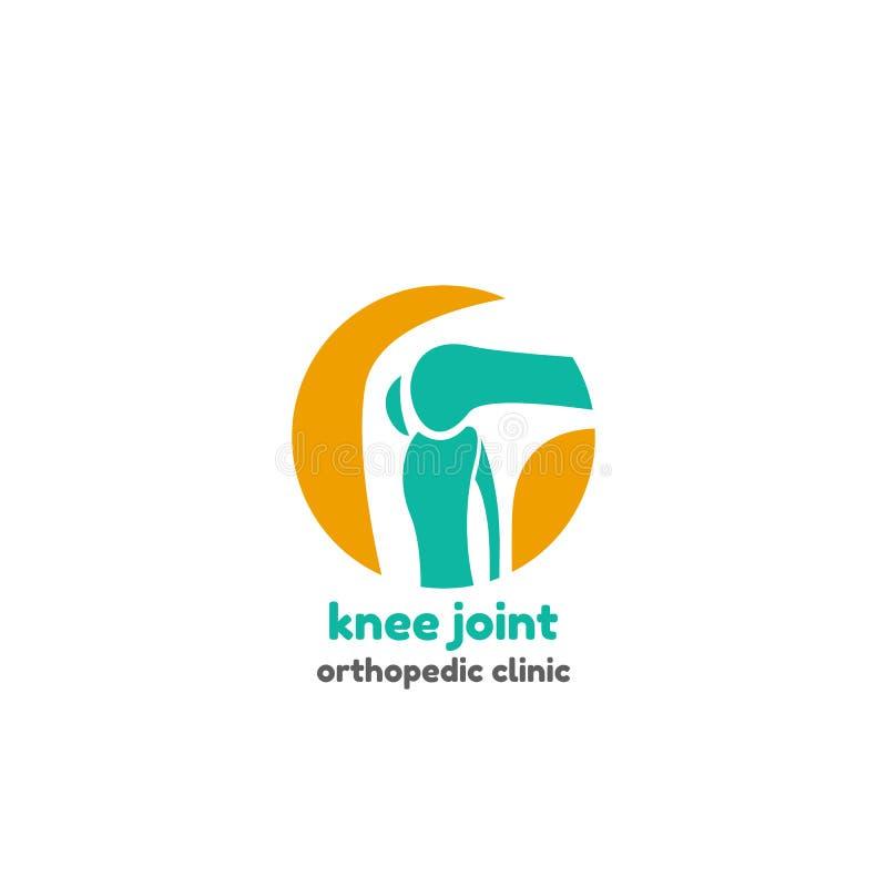 膝盖关节骨头的圆的标志 库存例证