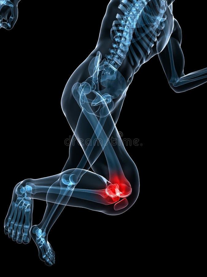 膝盖痛苦的连续概要 库存例证
