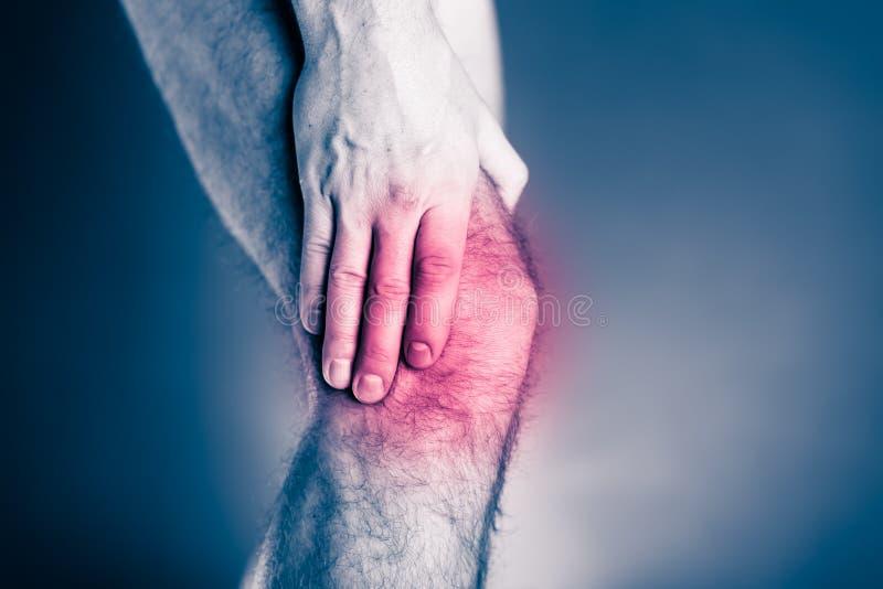 膝盖痛苦,身体上的伤害痛苦的腿 免版税库存图片