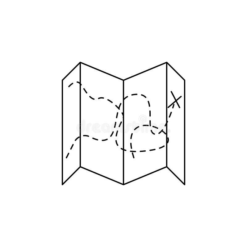 膨胀的地图象 野营和流动概念和网apps的室外休闲的元素 网站的设计的稀薄的线象 向量例证
