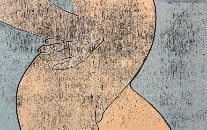 臀部赤裸妇女woodprint 库存图片
