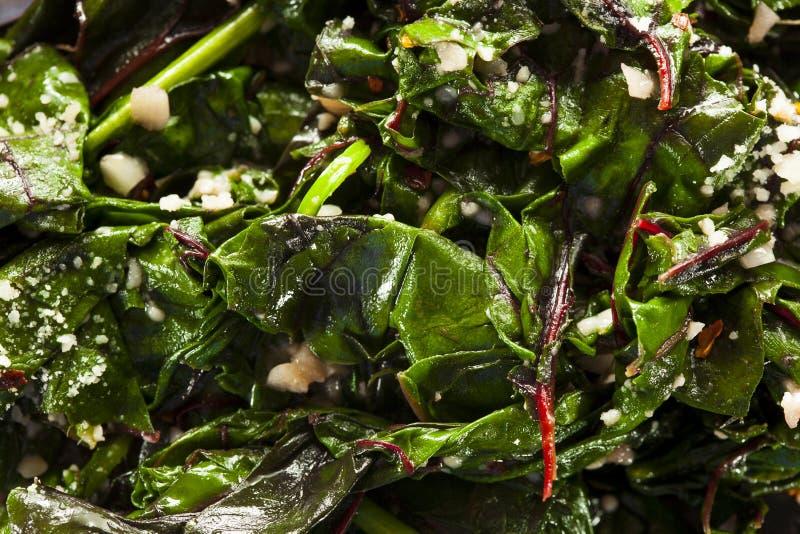自创健康嫩煎的瑞士牛皮菜 免版税图库摄影