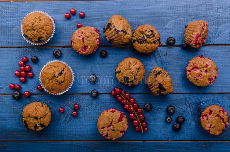 自创健康松饼用果子 库存图片
