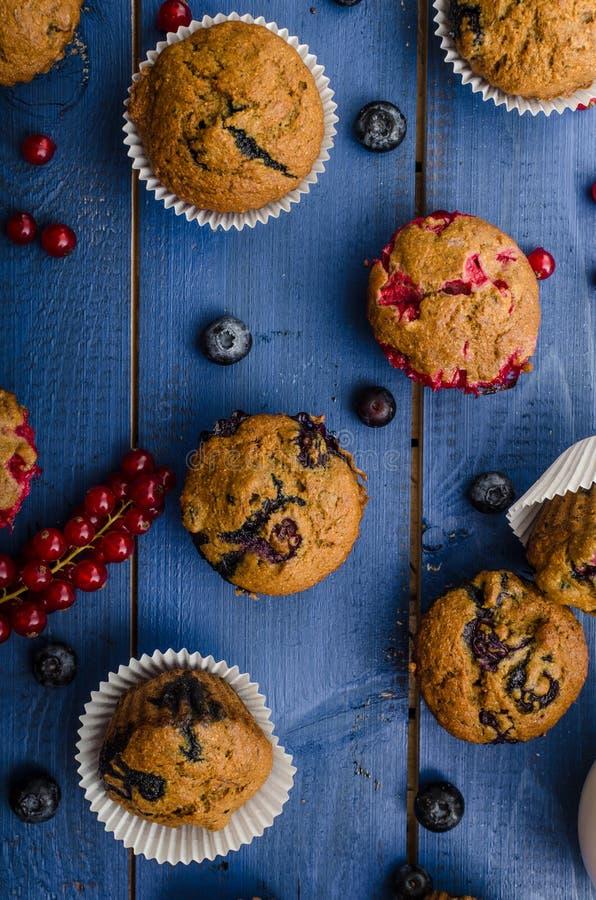 自创健康松饼用果子 图库摄影