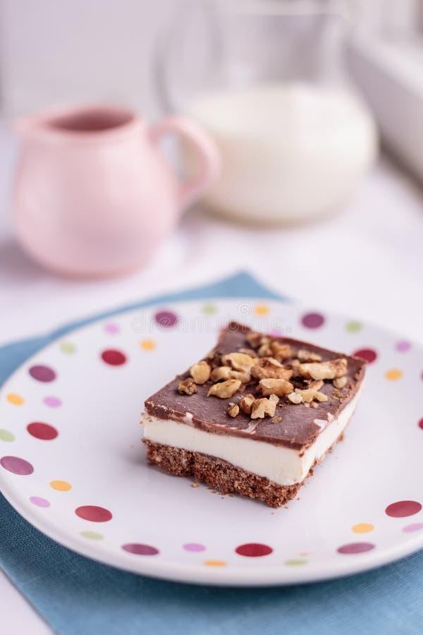 自创冰淇凌蛋糕用巧克力和饼干 免版税库存照片