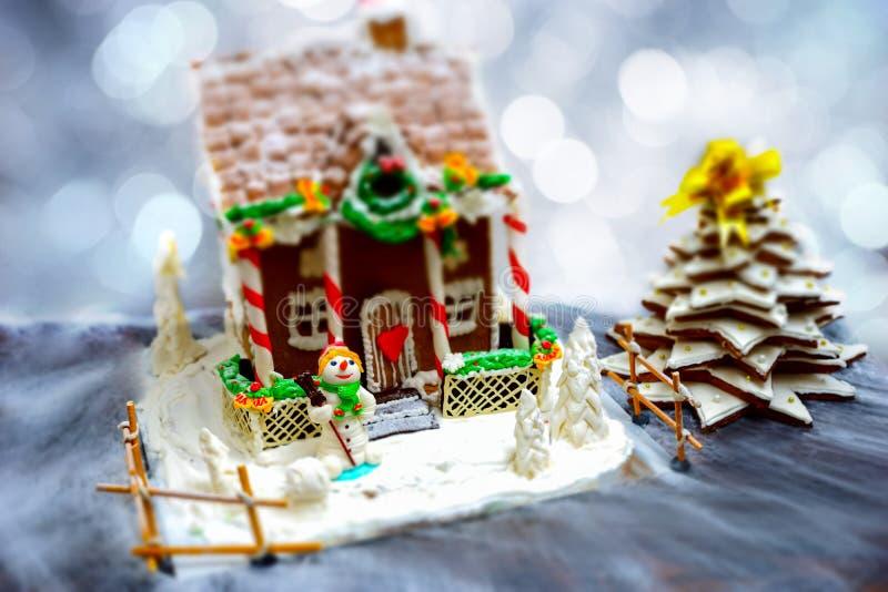 自创华而不实的屋、姜饼圣诞树和sug 免版税库存照片