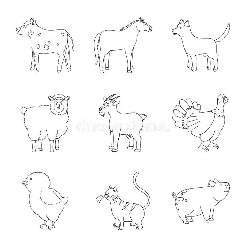 自创和乡下象的传染媒介例证 自创和农业股票简名的汇集网的 库存例证