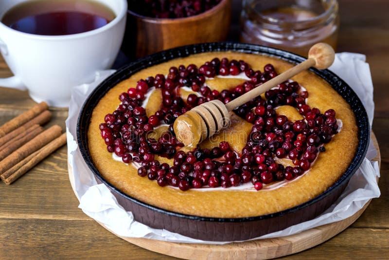 自创圣诞节或感恩天木的背景的蔓越桔鲜美饼可口蔓越桔蛋糕新鲜的蔓越桔 免版税库存图片