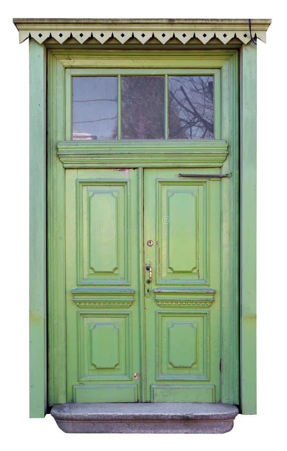 自创在农村样式的葡萄酒木绿色门 免版税库存照片