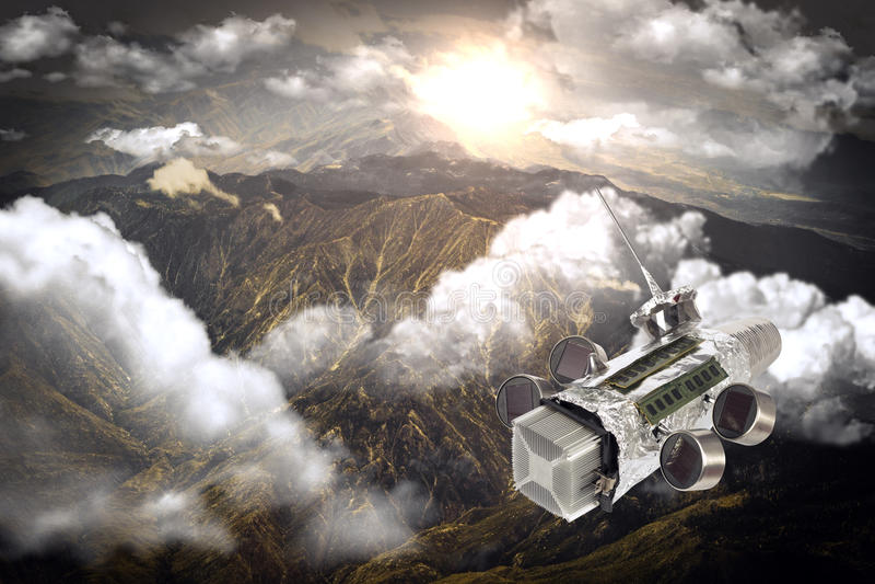 自创太空飞船卫星 库存照片