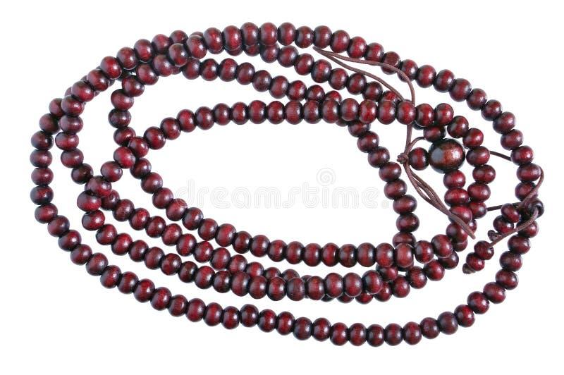 自创女性小珠由橡木木简单的深红bal制成 库存图片