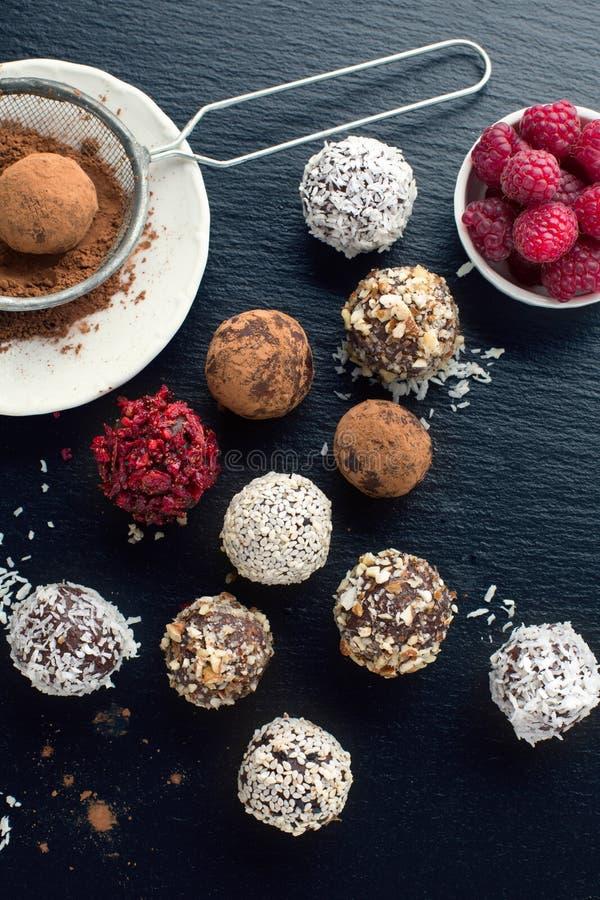 自创巧克力糖球 库存照片