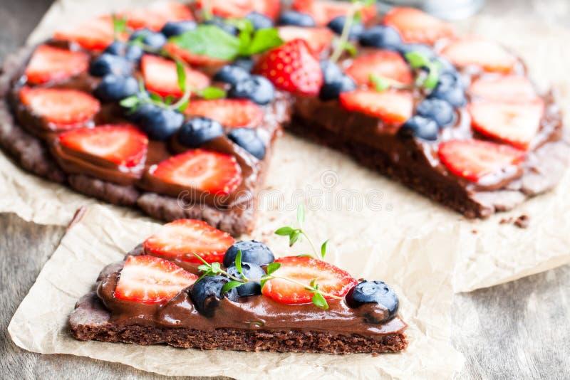 自创巧克力自然果子薄饼用莓果 库存图片