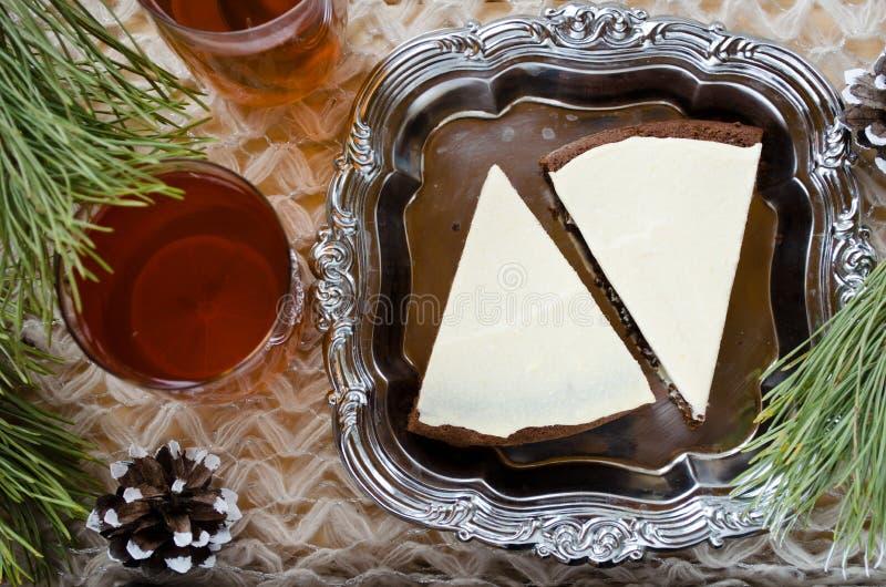自创巧克力饼用乳脂干酪 免版税库存照片
