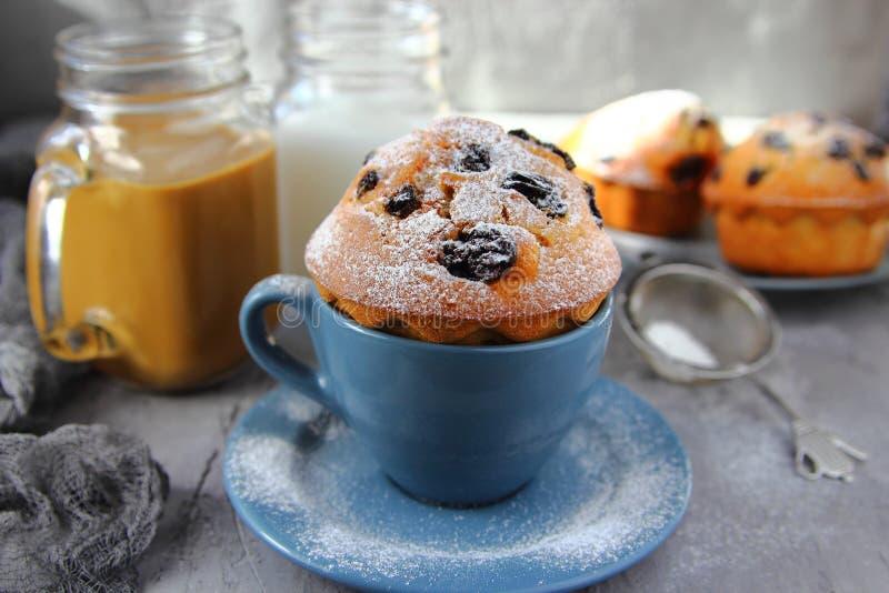 自创杯形蛋糕用葡萄干 库存照片