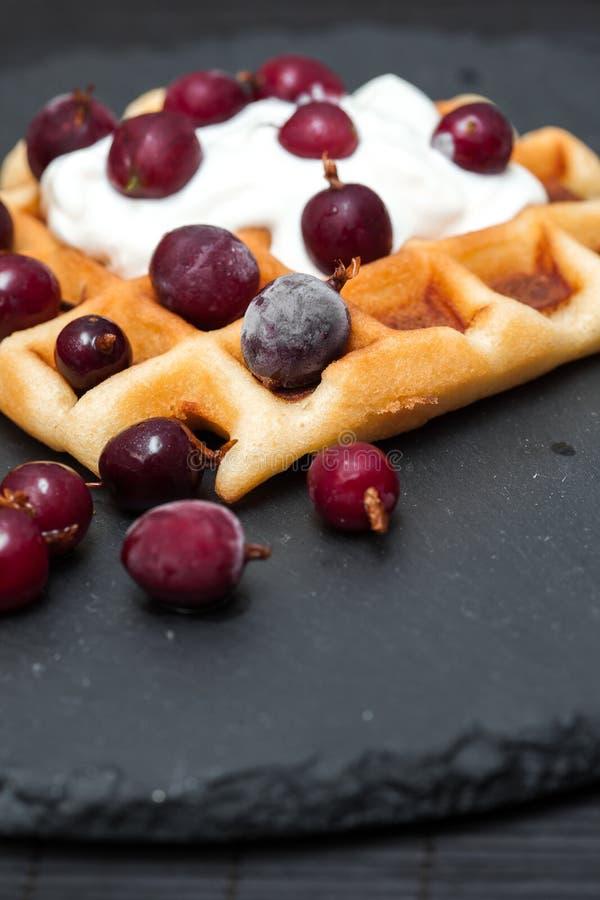 自创比利时华夫饼干用莓果,打好的奶油 图库摄影